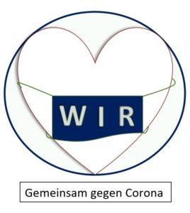 """Das Bild zeigt ein Logo, ein Herz mit Mund-Nasen-Schutz mit der Aufschrift """"WIR"""""""